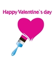 Paintbrush and pink heart abstract love concept vector