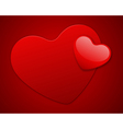 Red heart on card vector