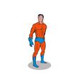 Super hero standing retro vector