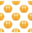 Wide smiling emoticon pattern vector