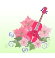 Red violin and poinsettia vector