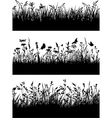Flowery meadow silhouettes wallpaper vector