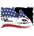 Pretty woman with american flag vector