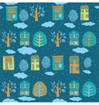 Little town in winter seamless background vector
