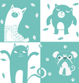 Four animal cute symbol vector