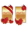 Red hearts banner vector