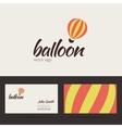 Air balloon logo template with business card vector