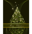 Christmas tree green and gold vector