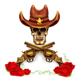 Sheriff skull in cowboy hat and with gun vector