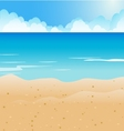 Cartoon beach and blue sea background vector