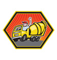 Construction worker driver cement mixer truck vector