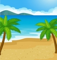 Cartoon beach background with coconut tree vector