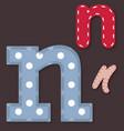 Set of stitched font - letter n vector