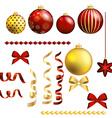 Christmas decorative ball and ribbon set vector