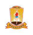 Marathon runner run race shield vector