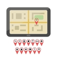 Gps device with geo pin icons vector