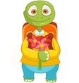 Funny turtle back to school vector