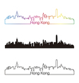 Hong kong skyline linear style with rainbow vector
