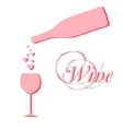 Wine bottle with wineglass and sparkles vector
