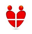 Medical heart teamwork logo vector