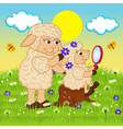 Mother sheep adorns head daughter vector