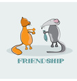 Rat giving to a cat fish cartoon vector