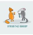 Rat giving to a cat fish cartoon vector