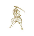 Samurai warrior with sword in fighting stance vector