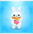 Happy valentines day card with rabbit and heart vector
