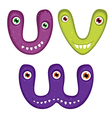 Funny toothy monster alphabet from v to w vector