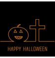 Contour pumpkin and cross happy halloween card vector