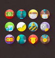 Textured flat icons for mobile and web set 2 vector