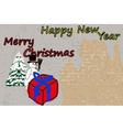 Christmas card with a background of a brick wall vector
