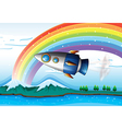A spaceship near the rainbow above the ocean vector