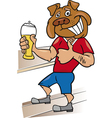 Bulldog man with glass of beer cartoon vector