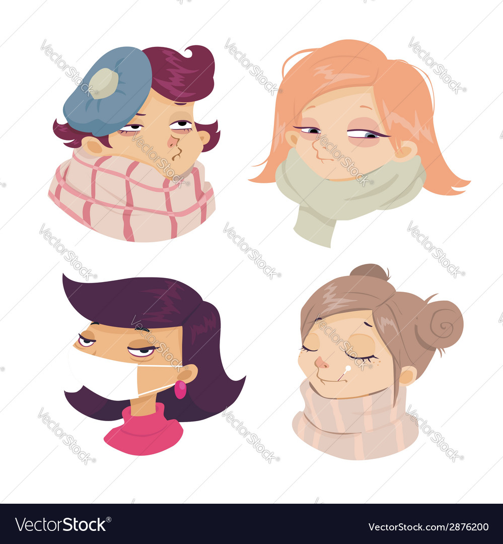 Cartoon face sickness cold symptoms of girl vector | Price: 1 Credit (USD $1)