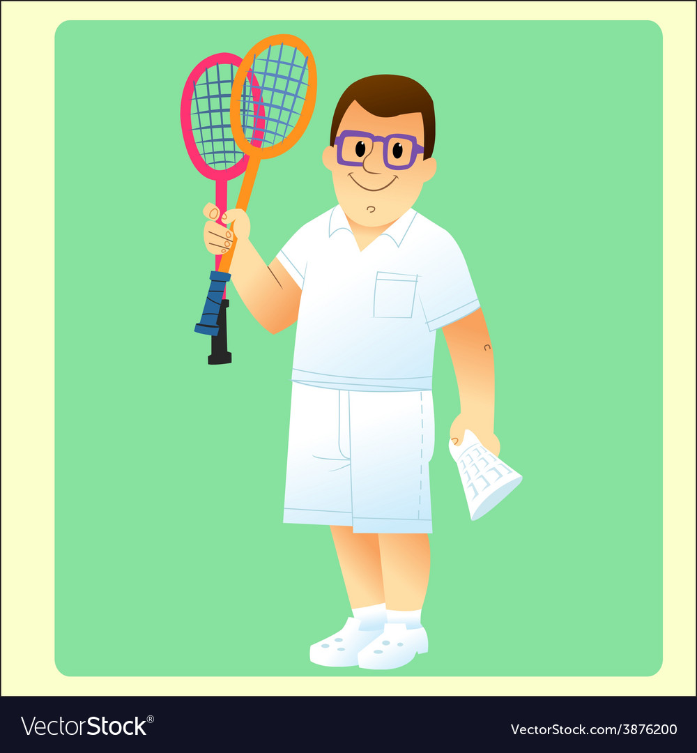 Complete man is exercising plays badminton vector | Price: 1 Credit (USD $1)
