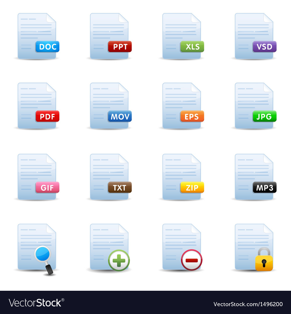 Document icons set vector | Price: 3 Credit (USD $3)