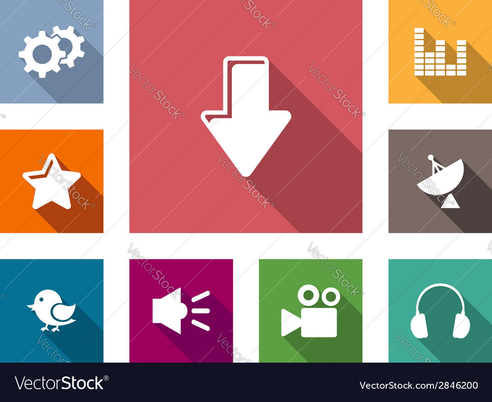 Flat media business and technology icons vector | Price: 1 Credit (USD $1)