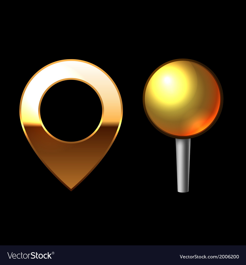Gold mapping pins set metal round shape with color vector | Price: 1 Credit (USD $1)