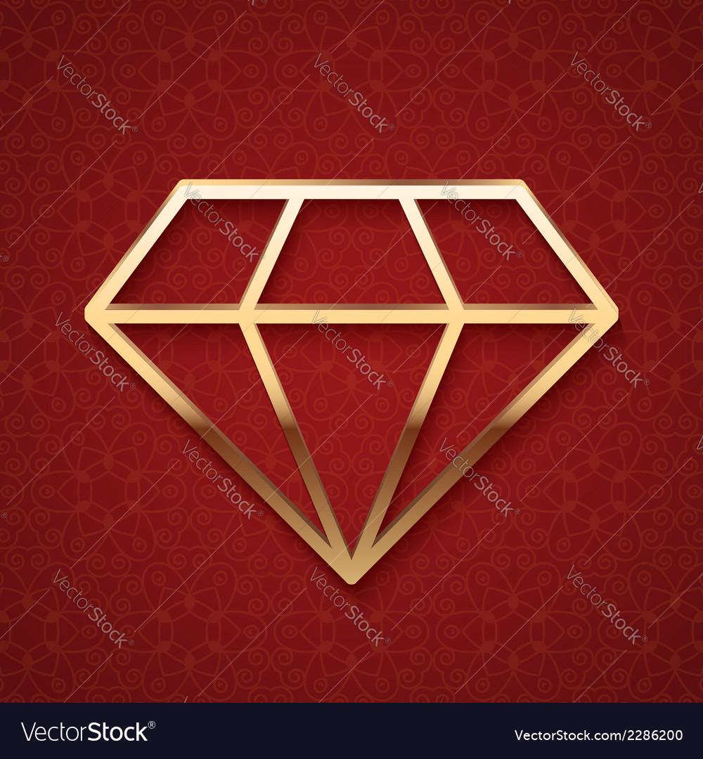 Golden diamond silhouette vector | Price: 1 Credit (USD $1)
