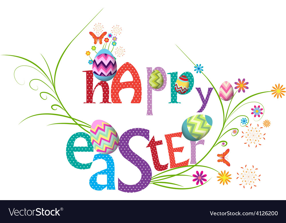 Happy easter floral greeting card vector | Price: 1 Credit (USD $1)