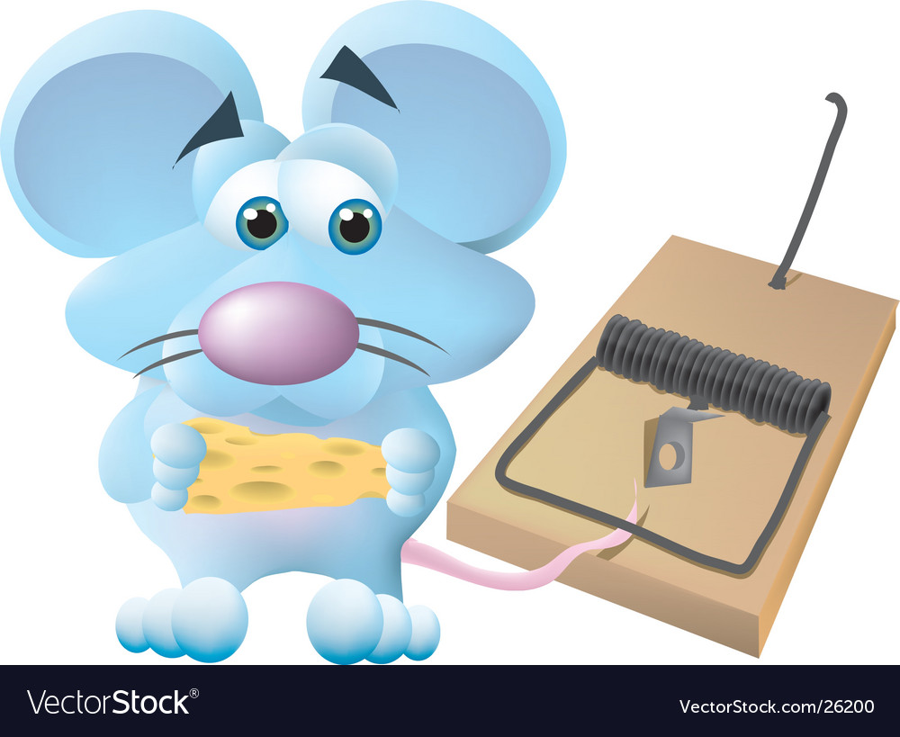 Mouse caught in trap vector | Price: 3 Credit (USD $3)