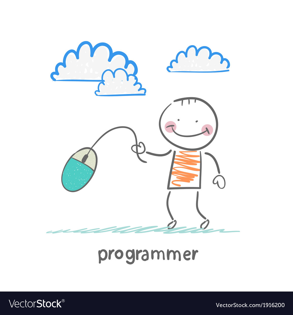 Programmer holding a computer mouse vector | Price: 1 Credit (USD $1)