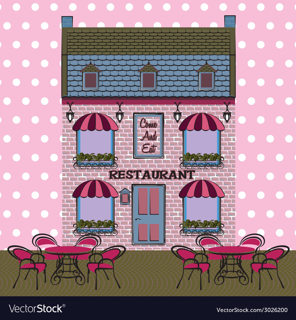 Restaurant facade background retro style vector | Price: 1 Credit (USD $1)