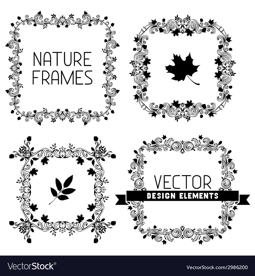 Set of calligraphic nature frames vector | Price: 1 Credit (USD $1)