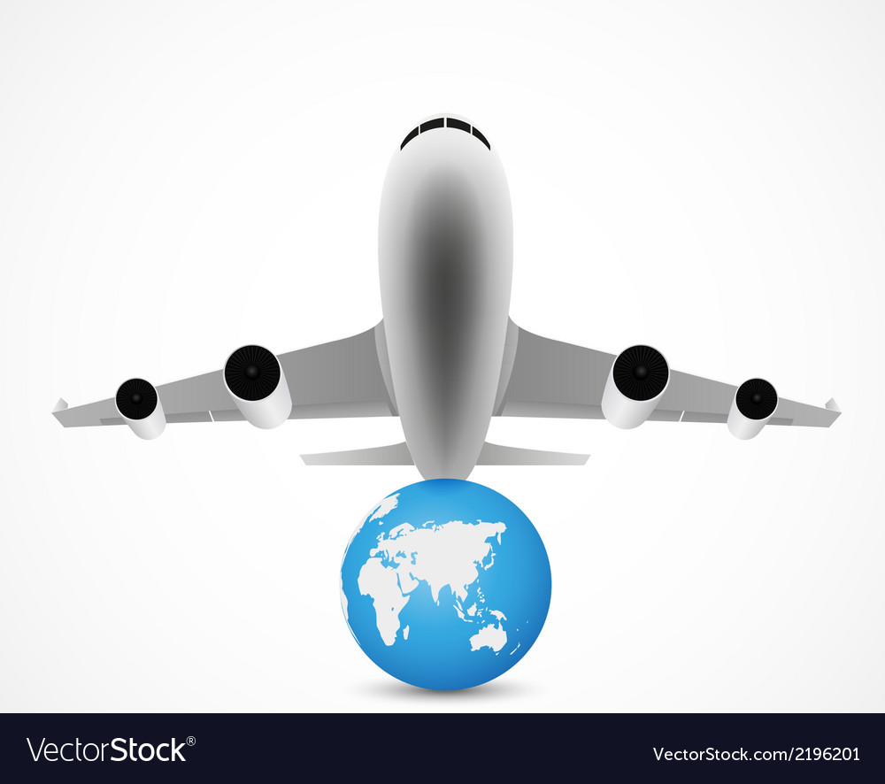 Airplane flying with world travel vector | Price: 1 Credit (USD $1)