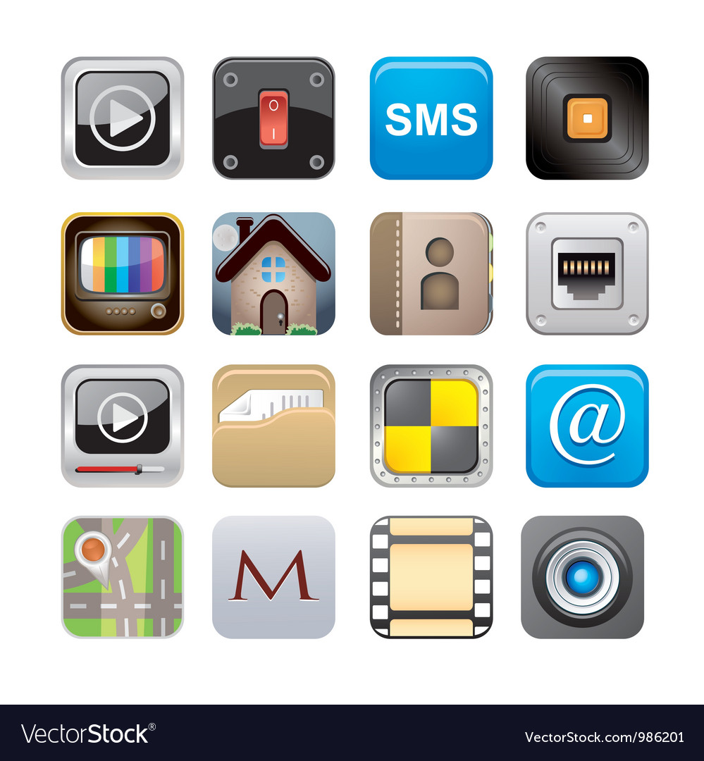 Apps icon set one vector | Price: 3 Credit (USD $3)