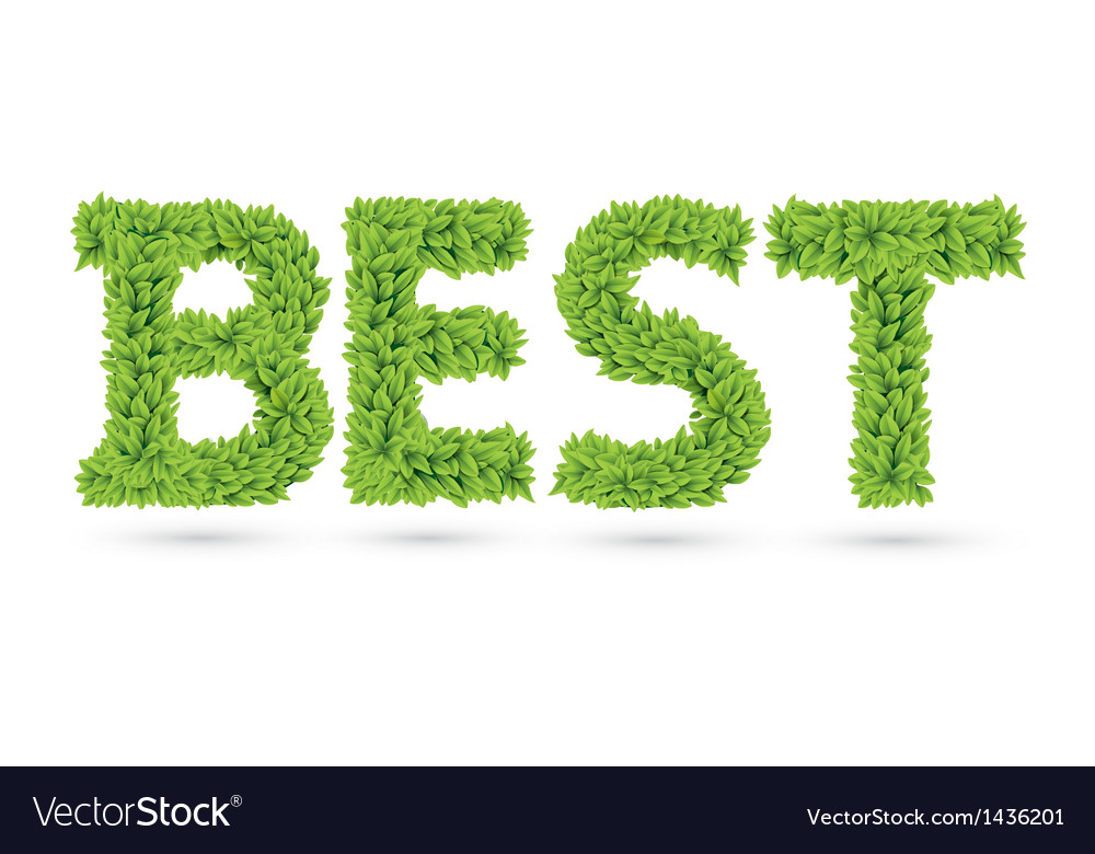 Best text of green leaves vector | Price: 1 Credit (USD $1)