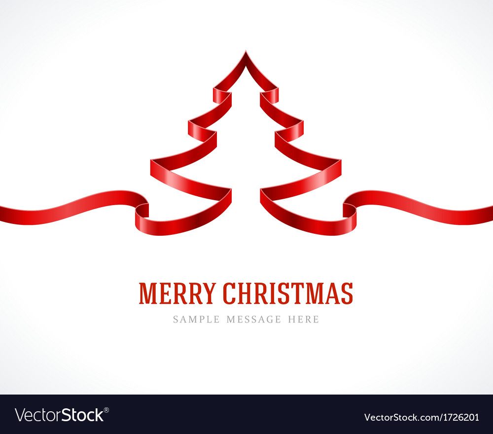 Christmas tree red from ribbon background vector | Price: 1 Credit (USD $1)